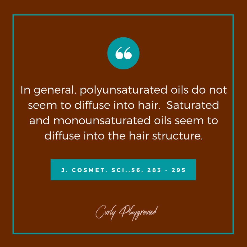 Scientific  quote on hair oil penetration.